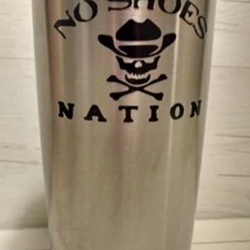 No Shoes Nation, Yeti Tumbler Decal, Yeti Decal, Yeti Rambler Decal, Cat Scroll Sitting Classic, Yeti Tumbler Decal, Ozark Tumbler Decal, Wall Vinyl Decal, Ozark Trail Decal, RTIC, Vinyl Decal Sticker, Wall Filler, Vinyl Decal Decor