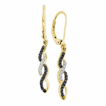14kt Yellow Gold Women's Round Black Color Enhanced Diamond Infinity Dangle Leverback Earrings 1-3 Cttw - FREE Shipping (US/CAN)