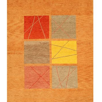 EORC Hand-knotted Wool Rust Transitional Tribal Gabbeh Rug