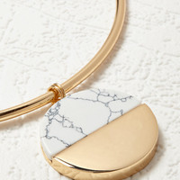 Faux Marble Disc Collar Necklace