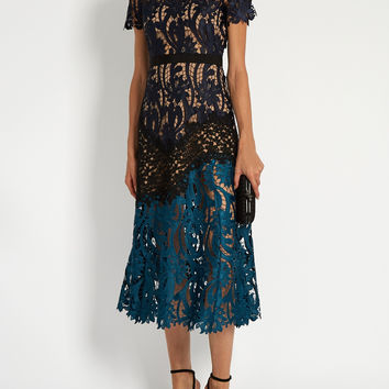 Mindy Embroidered Lace Midi Dress