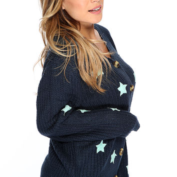 Casual Cute Navy Star Patches Decor Knitted Oversize Sweater