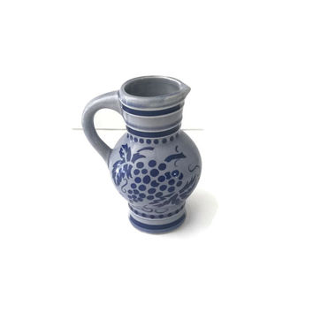 Clearance West German Stoneware, Ceramic Pitcher, KWU Dehme Western Germany, Vintage Bud Vase, Grape Design, Stoneware Jug