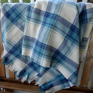 Faribo Blue Plaid Wool Blanket Throw NOS, 100% Wool Fringed Lap Stadium Tailgate Blanket, Picnic Blanket, Bedding, Home Cabin Office
