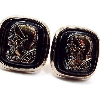 Vintage Cuff Links, Roman Solider Head Cameo Cufflinks, Hickok USA, Black Silver and Gold Tone, Mid Century 1960s 60s, Glass Cab Fronts