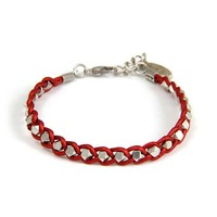 Braided Silver Faceted Beads on Morrocan Red Leather Bracelet