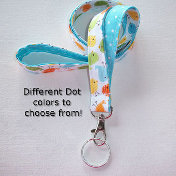 Lanyard  ID Badge Holder - Lobster clasp and key ring - design your own - Urban birds with aqua blue pin dots -  two toned double sided