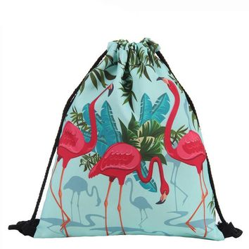 Tropical Flamingo Drawstring Bags Cinch String Backpack Funny Funky Cute Novelty