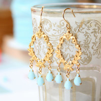 Victorian Blue Chandelier Earrings