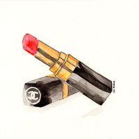 Chanel lipstick- Watercolor Make-Up illustration