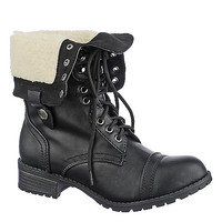 Shiekh Womens Oralee-S black fold over fur combat boot | Shiekh Shoes