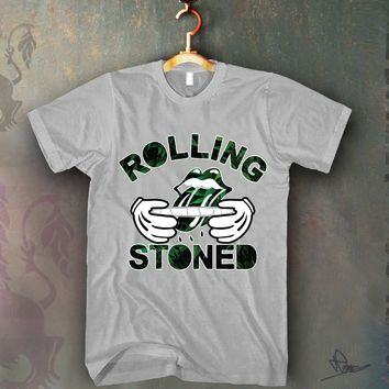 Rolling Stones Weed Leafs Unisex T-shirt Funny and Music