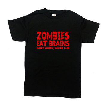 Zombie Eat Brains Shirt Halloween TShirt Halloween Costume Scary Pumpkin Face T-Shirt Funny Horror Scary Mens Ladies Unisex Tee - SA389