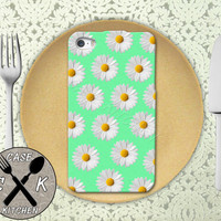 Daisy Pattern Mint Green Flower Cute Tumblr Inspired Rubber Tough Case iPhone 4/4s and iPhone 5 and 5s and 5c and iPhone 6 and 6 Plus