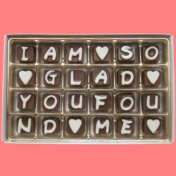 I Am So Glad You Found Me Cubic Chocolate Letters Anniversary Valentines Gift for Men Women BF GF Him Her WARM Weather Shipping