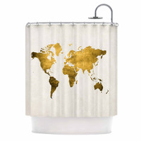 """Chelsea Victoria """"Let Love Light The Way"""" Gold Love Shower Curtain"""