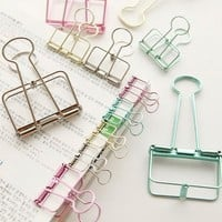 Colorful Hollow Out Planner Binder Clips File Clip Organizer Papelaria Kawaii Stationery Office & School Supplies