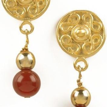 Precolumbian Sinu Round Ornament Gold and Bead Drop Earrings, Assorted Colors
