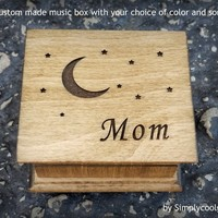 Mother's day gift, music box, custom music box, moon and stars, personalized music box, gift for mom, mother of the bride gift, mom gift
