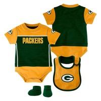 Green Bay Packers Lil' Fan Bodysuit, Bib & Bootie Set - Baby, Size:
