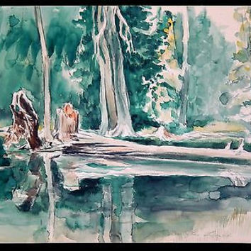 WPA Artist  Douglas Lynch Watercolor Landscape Painting Mid Century Oregon Trees