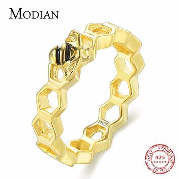 Modian New 100% 925 Sterling Silver Hearts Gold Color Bee Ring Honeycomb Element For Women Best Wedding Silver Jewelry Anel