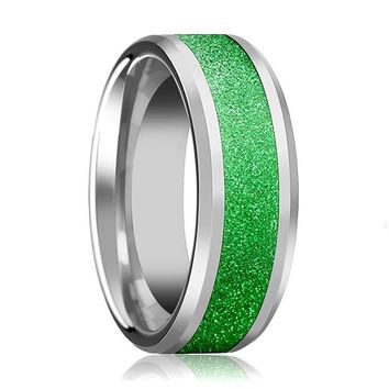 Tungsten Sparkling Green Inlay - Tungsten Wedding Band - Beveled - Polished Finish - 8mm - Tungsten Wedding Ring