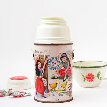 Vintage Children's Thermos / Nursery Rhymes Mercury Glass Hammer Master Vacuum for Hot and Cold Drinks / Retro Picnic Tea & Coffee Flask