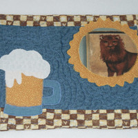 "Beer Mug Rug -  ""Beer Buddy"" - Quilted - mini quilt"