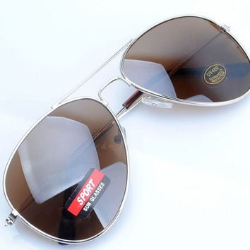 Deadstock Classic Vintage Aviator Silver Metal Frame Brown Lense Sunglasses Mens Womens 80's/90's Y51