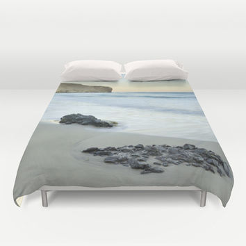 Black volcanic rocks Duvet Cover by Guido Montañés