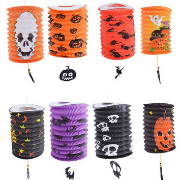 2016 New Halloween Paper Lantern Pumpkin Skull Bat Pattern 16x20cm Party Halloween Decoration Supplies Chinese Paper Lantern
