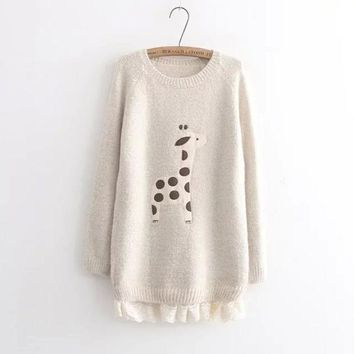 VLX2WL Patchwork Pullover Winter Cartoons Lace Sweater [9584885322]