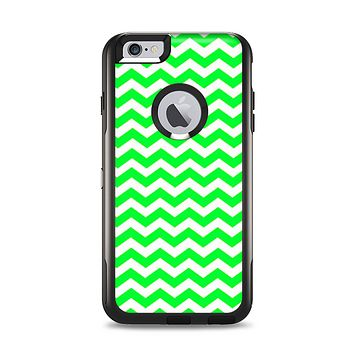 The Green & White Chevron Pattern Apple iPhone 6 Plus Otterbox Commuter Case Skin Set