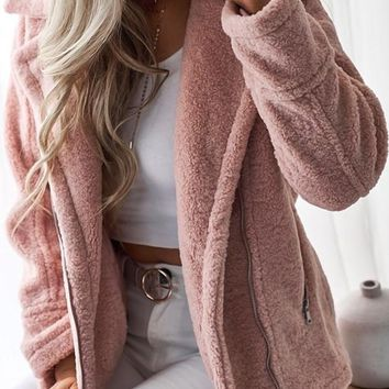 New Pink Pockets Zipper Turndown Collar Long Sleeve Teddy Coat
