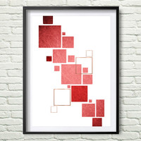 Red Squares, Red Geometric Print, Copper Art, Abstract Print, Modern Print, Red Print, Copper Art, Scandinavian Print, Instant Download *21*