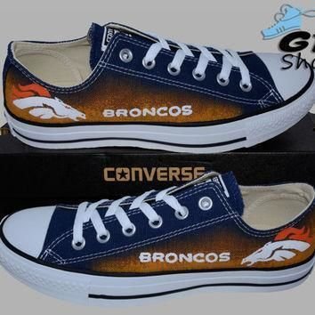 hand painted converse low denver broncos football colorado superbowl handpainted