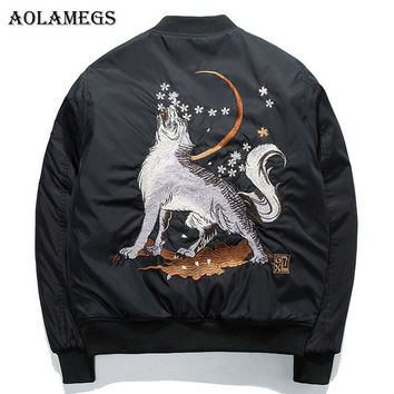 Trendy Aolamegs Bomber Jacket Wolf Embroidery Thin Men's Jacket Stand Collar Fashion Outwear Men Coat Bomb Baseball Jackets S AT_94_13