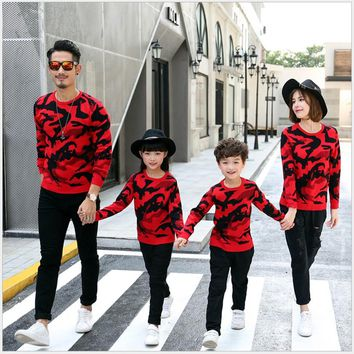 Royal-Infinity: Family Matching Winter Camouflage Sweater Long Sleeve