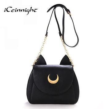 iCeinnight New women messenger bags cross body vintage luxury brand Summer pu leather bags Moon Chain Shoulder Ladies Small Bag