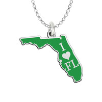 I Love Florida Sterling Silver State Shape Necklace