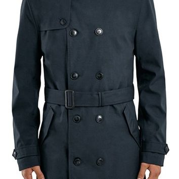 Men's Topman Navy Double Breasted Mac Jacket,