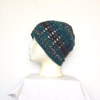 Lacy Skullcap Beanie Hat in Black and Turqupis, ready to ship.