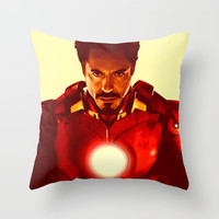 Tony Stark/ Iron Man/ Robert Downey Jr. Throw Pillow by Hands in the Sky