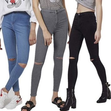 CUPUPGM Ripped Holes High Waist Jeans [8864411399]