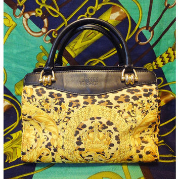 Vintage Gianni Versace nylon and leather speedy bag in leopard and golden gorgeous print. Lady Gaga Style