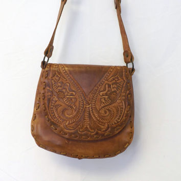 Vintage Brown Tan Leather Satchel Engraved Floral Braided Leather Purse Embossed tooled bag Satchel Cross Body Boho Indie Festival