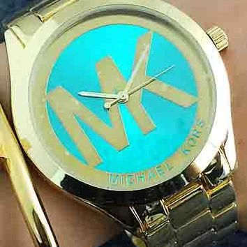 MK Women Men Trending Fashion Casual Quartz Movement Watch F-Fushida-8899 Gold Watchband+ Gold Case+ Green Dial