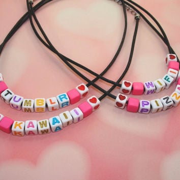 Pastel Goth Custom Letter Bead Choker // Make Your Own Phrase or Name Black Choker // Sassy Pastel Grunge Kawaii Choker // Tumblr Girl