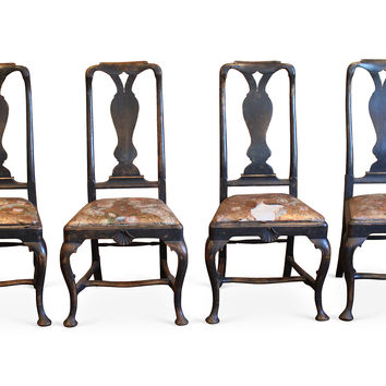 Swedish Rococo-Style Side Chairs, Set 4